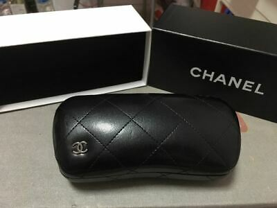 Chanel CC Logo Black Leather Sunglasses Large case w/box and Cleaning Cloth