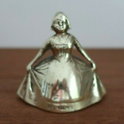 vintage DINANT Belgium BRASS TABLE BELL traditional Crinoline Lady form