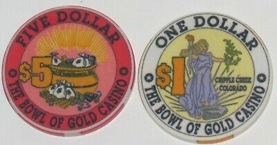 Two Obsolete Cripple Creek, Colorado Bowl of Gold Casino Chips, $1 & $5- NR!