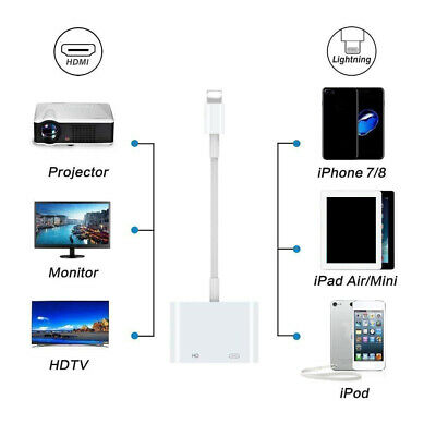Lighting to HDMI Adapter Cable Digital AV TV For iPhone 6/7/8 Plus iPad 1080P US