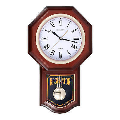 MEIDI CLOCK Pendulum Wall Clock with Chimes Battery Operated Silent Large Brown