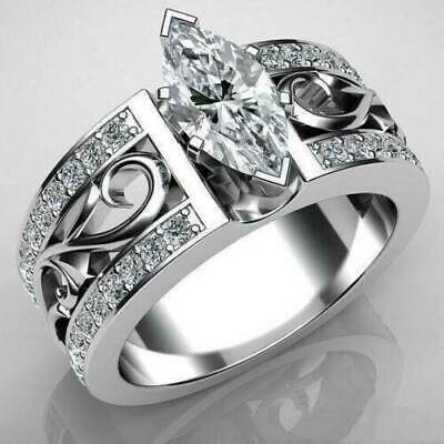 Vintage Silver Plated Marquise Design White Sapphire Antique Fashion Ring Gift