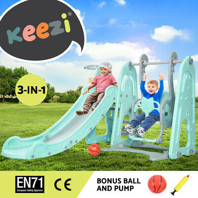 Keezi Kids Slide Swing Outdoor Indoor Playground Basketball Hoop Toddler Play