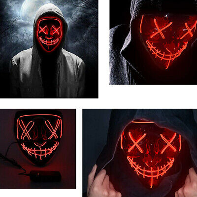 Clubbing Light Up Stitches LED Mask Costume Halloween Rave Cosplay Purge Movie