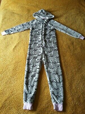 Girls Grey Racoon One Piece Size 8 - 9 Years - All In One - Hooded - Matalan