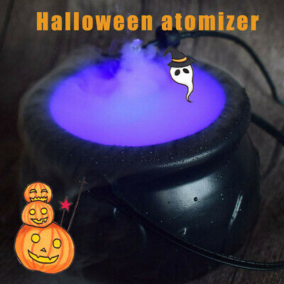 Halloween Cauldron Mister Mist Maker Smoke Fog Machine Changing Color Party Prop