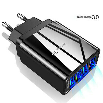 4Ports QC3.0 Fast Quick Charge USB Hub Wall Charger Power Adapter US EU Plug Bu