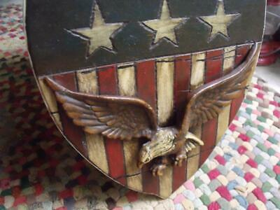 Primitive Vintage Americana Folk Art Carved Wood Wall Plaque With Bald Eagle
