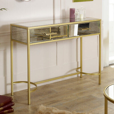 Large antique mirrored glass gold frame console table vintage living room hall