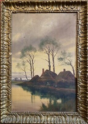 Jh Boel 1915 - Signed & Dated Large Oil Painting - Figure On River Punt At Dusk