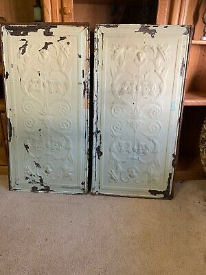 "Victorian Antique Two Metal Tin Ceiling Tiles 36""X18"" Reclaim Salvage W/heads NR"