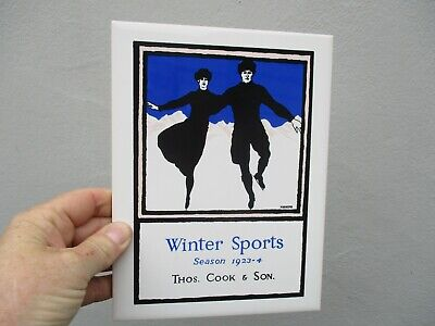 A Vintage Winter Sports Thomas Cook & Son Made in England Ceramic Tile-c1980s.