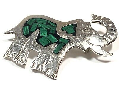Beautiful Ladies Sterling Silver Malachite Inlay Elephant Pin/Brooch - MEXICO