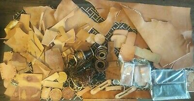 Large 10 Lb Assortment Of Leather Strips, Cowhide Pieces, Lace, Kit Pieces...