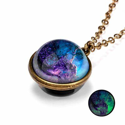 Glow in the Dark Galaxy Double Sided Glass Pendant Necklace Planet Women Jewelry