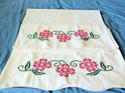 PR vintage white cotton blend hand embroidery red flowers pillowcases