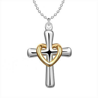 Top quality 316L stainless18K rose GP cross pendant with CZ womens necklace