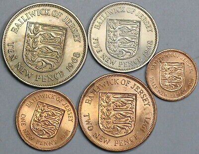 1960s 1970s Jersey New Pence Penny Five Coin Type Set (19091603R)