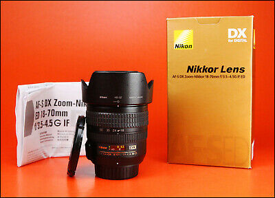 Nikon AF-S 18-70mm F3.5-4.5G ED DX AF Zoom Lens Sold With Both Caps, Hood & Box