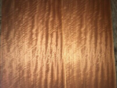 Block Mottled Makore Wood Veneer. 12.5 x 23, 3 Sheets.