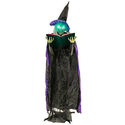 Halloween Haunters 6' Animated Standing Wicked Witch with Spell Book Decoration