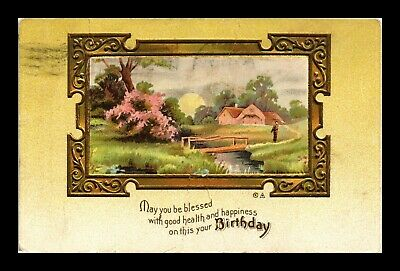Dr Jim Stamps Us Birthday Embossed Topical Greetings Country Scene Postcard