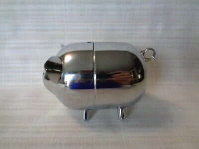 Vintage Metal Chrome Pig Piggy Bank Made in Hong Kong w Screw Opening on Bottom