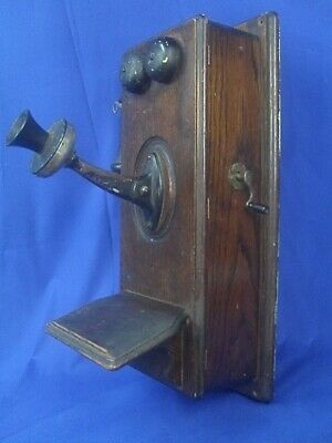 Vintage Antique Kellogg Hand Crank Wall Telephone w/Oval Front Wood Case. Scarce