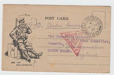 WW1 53rd Welsh Division S.A.A. Column RFA Egypt Tobacco Fund Card 1916 FPO 160