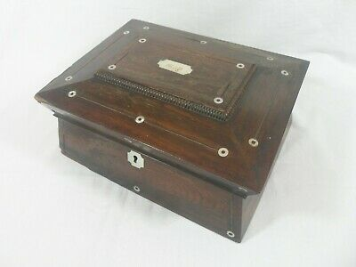 Beautiful Wooden Antique Sewing Box With Pearl Inlay + Contents