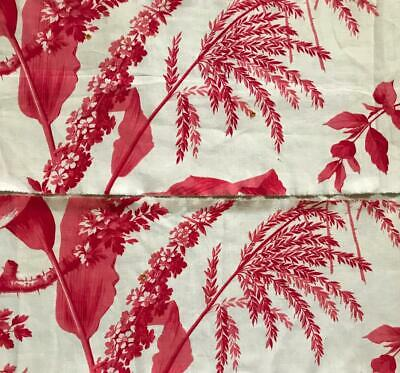 2 Fragments Beautiful 19Th Century French Toile De Jouy, Florals Foliage 65.