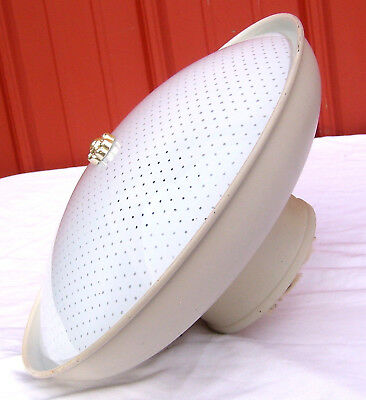 "Vintage Metal MCM UFO Saucer Polka Glass 13"" Round Shade Ceiling Light Fixture"