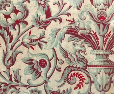 BEAUTIFUL  MID 19th CENTURY FRENCH LINEN COTTON INDIENNE DRAGONS GRIFFINS 68