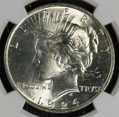 1924 NGC MS63 Peace Silver Dollar Item#M5437