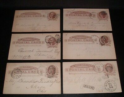 LQQK 6 antique 1880s/90s U.S. LETTER POSTAL CARDS, ny.,mo.,oh