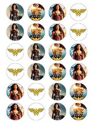 24 x Wonder Woman Cupcake Birthday Fairy Cake Toppers Edible Rice Wafer