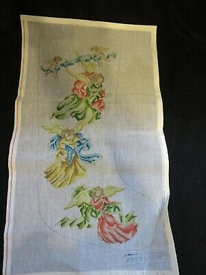 Papillon needlepoint canvas Christmas stocking angels and cherubs