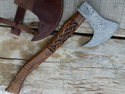 Handmade Damascus Steel Hatchet/Ax with Engraved Handle