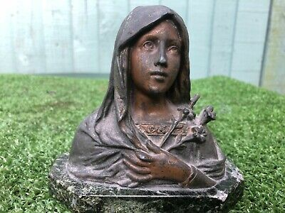 SUPERB 19thC ART NOUVEAU SPELTER BUST FIGURINE, MOUNTED ON MARBLE BASE c1890s
