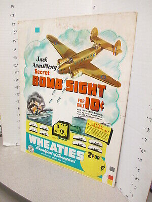 JACK ARMSTRONG 1942 WWII secret bomb sight premium Wheaties cereal box sign A-X