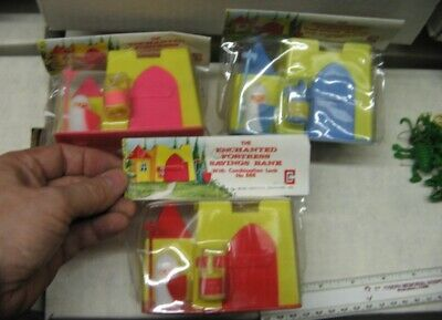 Castle Savings Bank (1 item RED) 1960s playset MIP toy plastic medieval