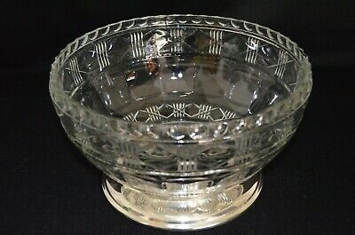 Vintage Large Lead Crystal Glass Bowl with Silver Plated Base