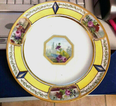 Unusual Paris Porcelain Plate Hp Yellow Bands Floral Cartouches Gilt 18Th 19Thc.