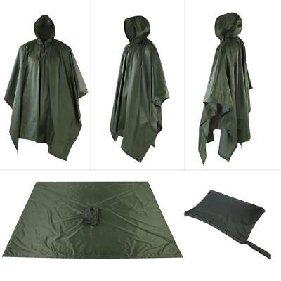 Poncho de lluvia con capucha impermeable Caza militar Camping Impermeable Toldo