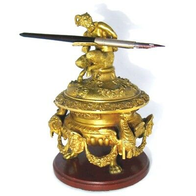RARE! Antique 19 C.French Louis XVI Gilt Bronze FAUN/SATYR Inkstand Desk Inkwell