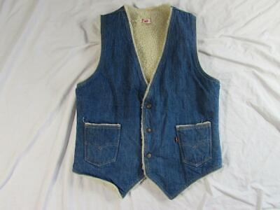 Vtg 70s Levi's Sherpa Lined USA Made Denim Western Vest M Faded Red Tab Trucker