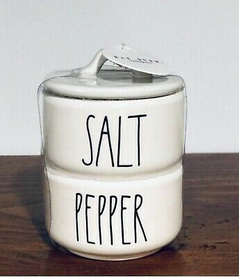 New Rae Dunn Mini SALT & PEPPER Stacker Cellar Canister LL VHTF