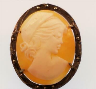 Antique Art Deco 800 Silver Marcasite Framed Carved Cameo Brooch Pin Pendant