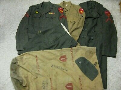 Wwii Usmc 5Th Amphibious Corps Named Uniform & Unit Marked Duffle Bag Grouping