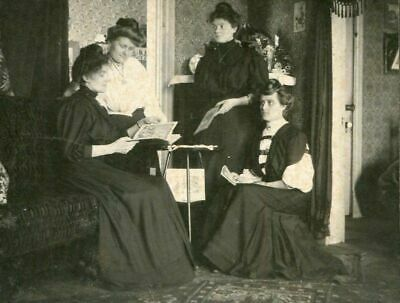 ANTIQUE MATTED PHOTO VICTORIAN LADIES w BOOKS sitting in LOVELY PARLOR